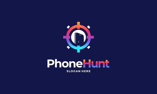 Phone hunter logo projektuje wektor koncepcyjny, telefon projektuje logo symbol, logo tech