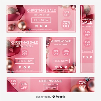 Photographic christmas banner banner collection