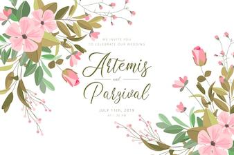 Piękna ślubna karta z kwiatami i liśćmi