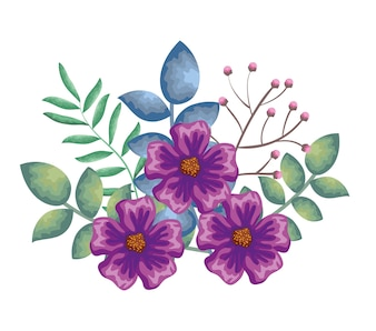 Piękna dekoracja kwiatów i listków