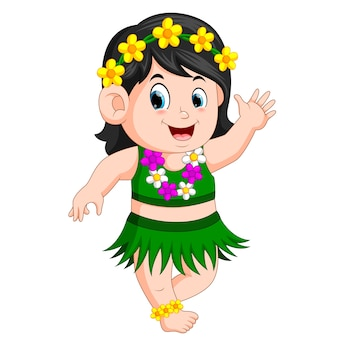 Piękna dziewczyna w hawajskim stroju tańczy Hula