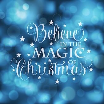 Piękna kartka bożonarodzeniowa z bokeh światłami.