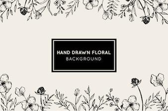 Piękna ręka Rysujący Kwiecisty Botaniczny tło
