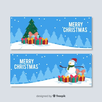 Piękne świąteczne banery w płaskiej konstrukcji