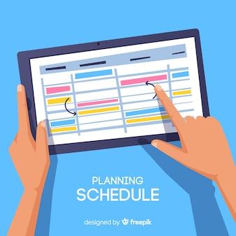 Piękne ręcznie rysowane koncepcja planowania harmonogramu