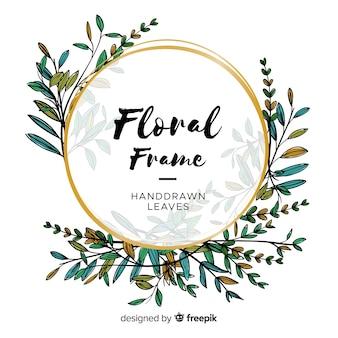 Piękne ręcznie rysowane rama kwiatowy
