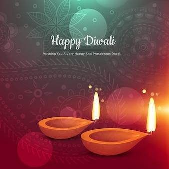 Piękne szczęśliwy Diwali diya kartkę z życzeniami