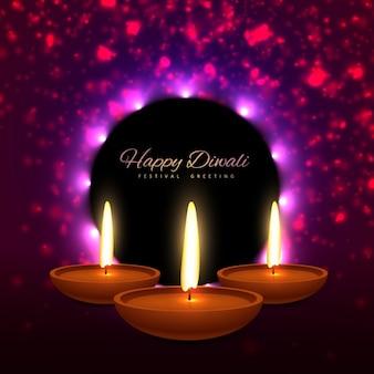 Piękne szczęśliwy Diwali indyjski festiwal kartkę z życzeniami