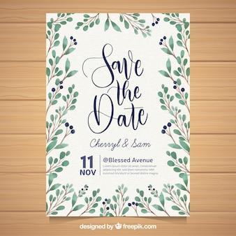 Piękne zaproszenie na ślub z akwarela liści
