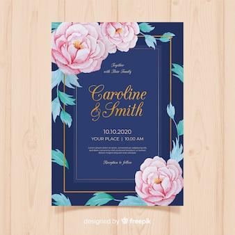Piękny ślub szablon zaproszenia z kwiatami piwonii