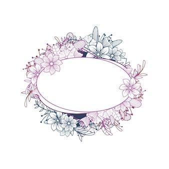 Piękny ślubny ornament kwiat rama kwiaciarnia