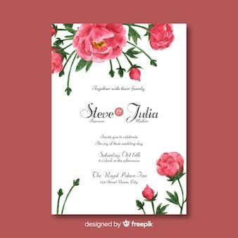 Piękny ślubny szablon z peonia kwiatów projektem