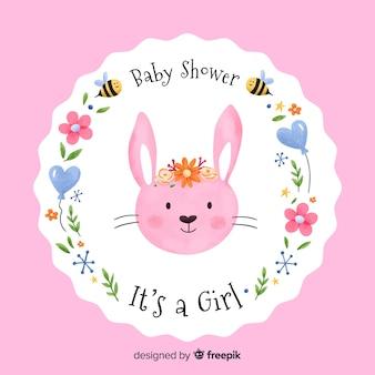 Piękny akwarela kompozycja prysznic dla dzieci