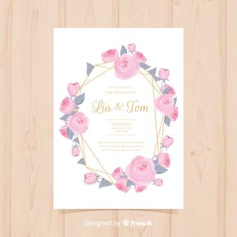 Piękny kwiatowy zaproszenie na ślub ze złotymi liniami