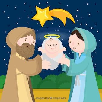 Piękny narodzin Jezusa w tle