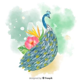 Piękny pawi w stylu przypominającym akwarele