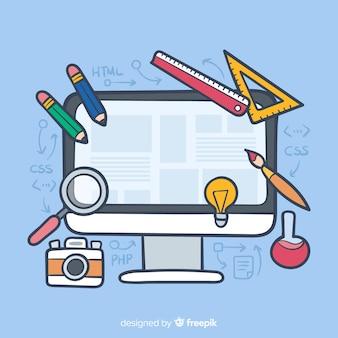 Piękny ręcznie rysowane koncepcja projektowania sieci web