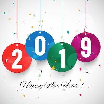 Piękny Szczęśliwy nowego roku 2019 teksta festiwalu tło