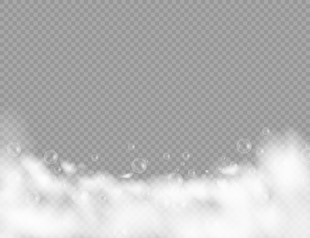 Piana do kąpieli z bąbelkami szamponu na przezroczystym tle. golić się, piankowy piankowy z bąbelkowymi szablonami widoku z góry do projektowania reklam.