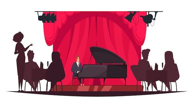 Pianista grający muzykę na żywo w restauracji z sylwetkami ludzi siedzących przy stołach, ilustracja kreskówka