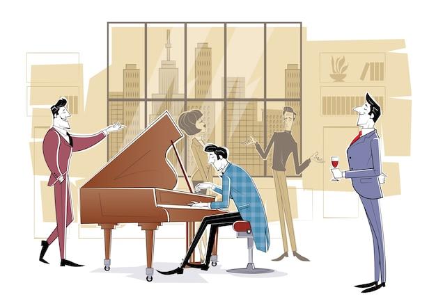 Pianista siedzi przy fortepianie i gra dla gości. szkic ilustracji
