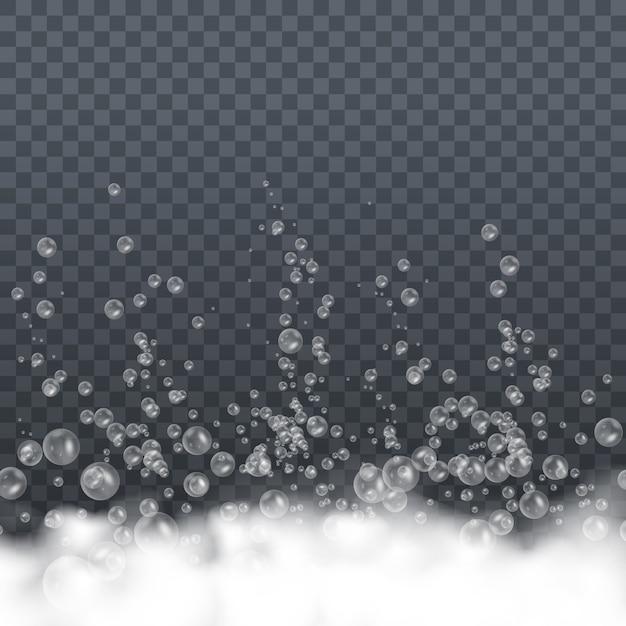 Pianka mydlana z bąbelkami na przezroczystym tle. symbol czystości. pranie do kąpieli białe bąbelki, szampon mydlany czysty bulgocący błyszczący detergent do mycia. ilustracja, eps 10.