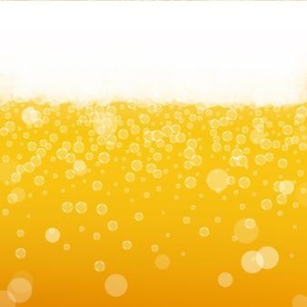 Pianka piwna. splash piwa rzemieślniczego. oktoberfest tło. koncepcja menu pomarańczowy. błyszczący kufel piwa z realistycznymi bąbelkami. chłodny płynny napój do pubu. żółty kubek na piankę oktoberfest.