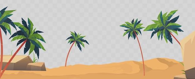 Piasek, plaża i palmy na białym tle. element projektu na temat lata.
