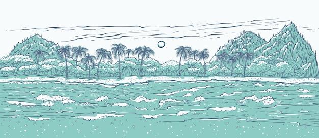 Piaszczysta tropikalna wyspa z falami morskimi i palmami.