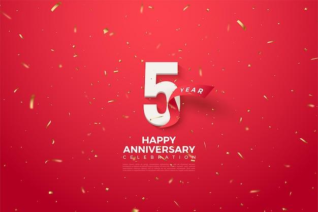 Piąta rocznica z cyframi i zakrzywioną czerwoną wstążką obok cyfr.