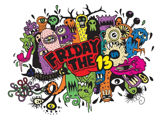 Piątek 13 grunge ilustracja z doodle ducha tłem