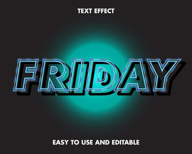 Piątek efekt tekstowy. edytowalny efekt czcionki.