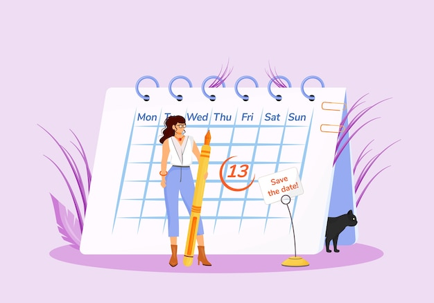 Piątek trzynasta płaska ilustracja koncepcja. młoda przesądna kobieta z kalendarzem i czarnym kotem postaci z kreskówek 2d do projektowania stron internetowych. powszechny przesąd, niefortunny pomysł na randkę