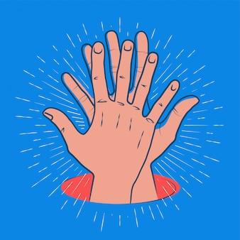 Piątka z klaszczącymi dłońmi i sunburstem dookoła. drużynowa praca, przyjaźń, sukces lub gratulacyjny pojęcie ilustracja