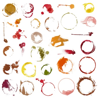 Pić plamy wektor barwienia koła filiżanki kawy lub kieliszek do wina zestaw ilustracji