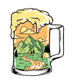 Picie piwa na górskiej ilustracji