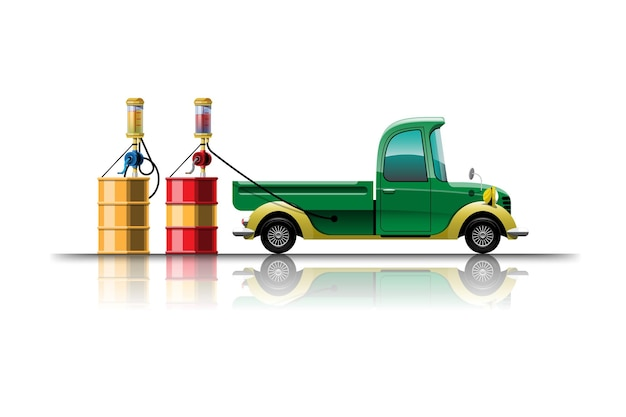 Pick-up samochód w kreskówkowym stylu do tankowania ze zbiornika na stacji paliw