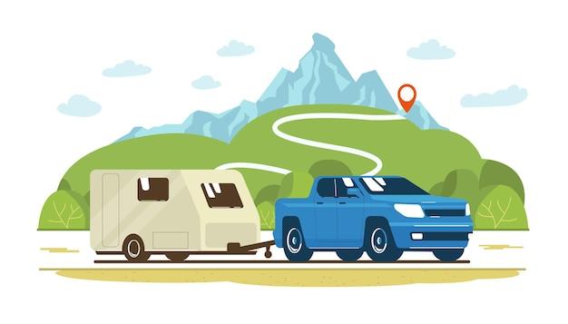 Pickup i przyczepa kempingowa na drodze na tle wiejskiego krajobrazu. ilustracja wektorowa płaski.