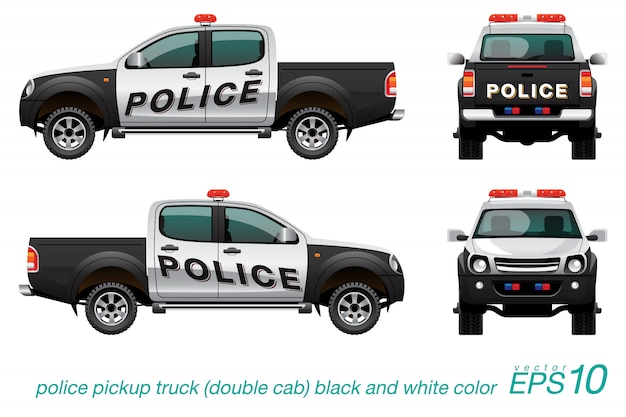 Pickup podwójna kabina samochód policyjny