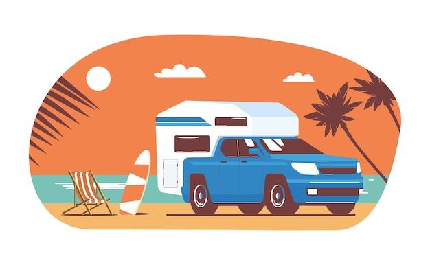 Pickupa z przyczepą turystyczną zamontowaną z tyłu na tle abstrakcyjnego tropikalnego krajobrazu. ilustracja wektorowa.