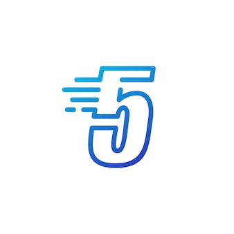 Pięć 5 cyfr kreska szybko szybki cyfrowy znak zarys linii logo wektor ikona ilustracja
