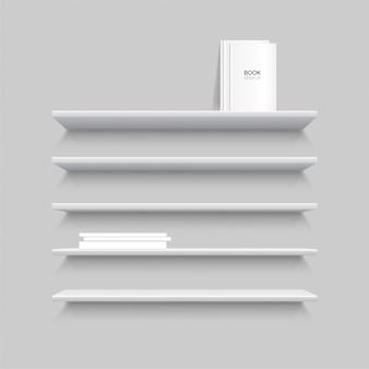 Pięć białych realistycznych półek z książkami