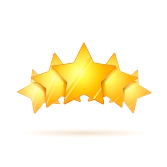 Pięć błyszczące złote gwiazdki z cieniem na białym tle