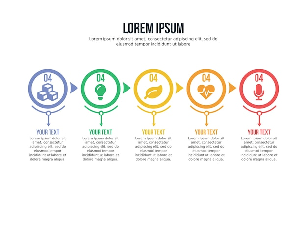 Pięć element infographic plansza i szablon prezentacji