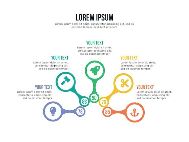 Pięć element infographic rotacji i szablon prezentacji