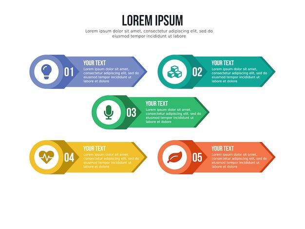 Pięć elementów infografika premium