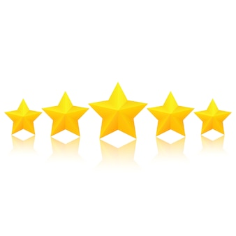 Pięć grubych złotych gwiazd z odbiciem. doskonała ocena jakości