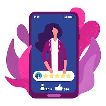 Pięć gwiazdek. kobieta ma wysoką ocenę koncepcji aplikacji online. ilustracja 5 gwiazdek, ocena osoby online