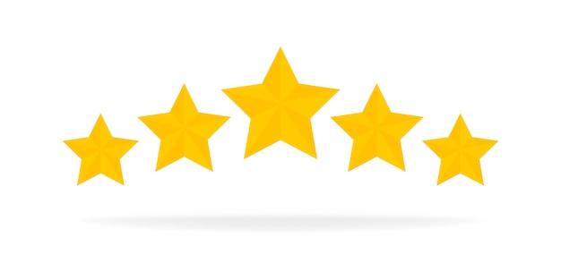 Pięć gwiazdek ocena złota ikona. elementy interfejsu użytkownika gry z kreskówek 3d. wygraj nagrody, ratowanie, nagroda, koncepcja sukcesu. ilustracja.