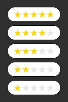 Pięć gwiazdek. poziom statusu oceny. różne stopnie od jednej do pięciu gwiazdek. złote i szare przezroczyste gwiazdy. projekt szablonu aplikacji internetowej lub mobilnej. ilustracji wektorowych
